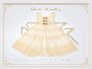 ロリータ Sweet Dreamer Vintage エプロンワンピース 重ね着用 透け感 フリル リボン ノースリーブ loli2005