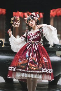 ロリータファッション 中華ロリータ Qilolita 華ロリ 姫袖 ブラウス フリル レース 長袖 ロリータ トップス ロリィタ 008