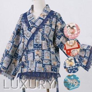 【即納 現品限り】ロリータ Sweet Dreamer Vintage ネコちゃん 着物デザイン ブラウス 和ロリ ポップ 可愛い レース リボン チェック柄 ブルー レッド loli104002
