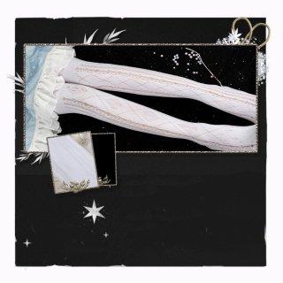 ロリータファッション クラシカル レース デザイン ストッキング 30デニール ホワイト ブラック 通年 上品 loli107005