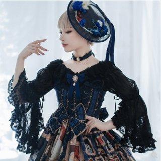 ロリータ 姫袖 フリル ブラウス ブラック ピンク フリル リボン レース 刺繍 甘ロリ クラシカル 可愛い フラワー
