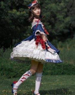 【受注生産 納期40日】 Milu Forest 白雪姫 デザイン ドレスセット 半袖ワンピース カチューシャ ソックス シューズ クラウン リボン ネイビー レッド 甘ロリ 可愛い