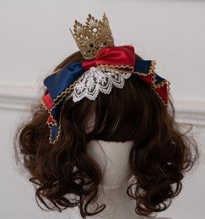 Milu Forest クラウン デザイン リボンカチューシャ レース ネイビー 白雪姫 可愛い 甘ロリ ヘッドドレス アクセサリー
