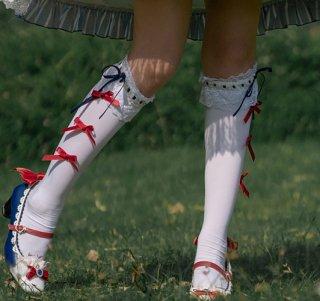 Milu Forest おリボンいっぱい ハイソックス ホワイト レッド レース 甘ロリ 可愛い 白雪姫
