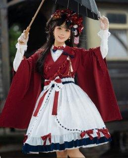 NyaNya 白雪姫 おリボンいっぱい 膝丈スカート ホワイトネイビー 甘ロリ 可愛い レース シフォン  loli123002