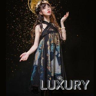 即納商品あり NyaNya 太陽と月 クロスストラップ ハイウエス 膝丈ワンピース 女神 ホワイト ブラック シフォン クラシカル Aライン ベビードール loli125002