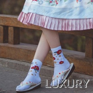 NyaNya  和ロリ ツバキ デザイン 足袋ソックス 靴下 可愛い 和装 ホワイト