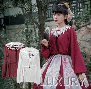Neo Ludwig 華ロリ 刺繍 襟 コットン 長袖ブラウス リボン 編み上げ ウエストリボン 無地 新作 ホワイト ワインレッド コットン loli129004