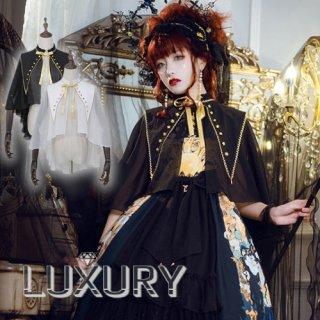 NyaNya フリルネック 王女 マント シフォン 星 襟 ホワイト ブラック リボン