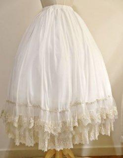ロリータ Cyan Lolita スカート ロング ミモレ丈 ふんわり フレア レース ホワイト ティアード かわいい ペチコート ロリータファッション loli2049