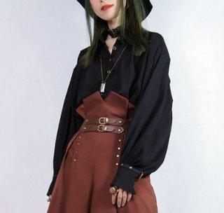 スチームパンク シャツ ブラウス ブラック フリーサイズ 長袖 春物 ボタン Vネック カジュアル ロリータファッション loli2114