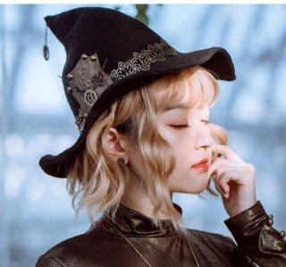 スチームパンク ハット 帽子 steampunk ブラック 雑貨 小物 ギア チェーン 通年 ブラック コスプレ ゴスロリ ロリータファッション loli2116