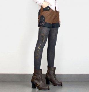 スチームパンク レギンス ニット ブラック グレー ギア チャーム付き かわいい 春物 靴下 タイツ ゴスロリ ロリータファッション loli2120