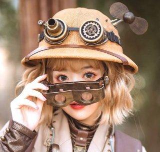 スチームパンク ゴーグル付きストローハット 帽子 steampunk 草編み フリーサイズ 春夏 ゴスロリ ロリータファッション loli2156