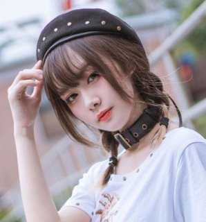 ロリータ ベレー帽 ブラック 帽子 スタッズ カジュアル かわいい 通年 ゴスロリ ロリータファッション loli2166