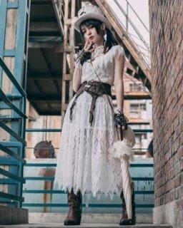 スチームパンク ワンピース ドレス steampunk ホワイト レース ロング ミモレ丈 半袖 ロリータファッション loli2167
