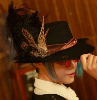 スチームパンク ハット 帽子 ブラック ウール 秋冬 春物 カジュアル 羽 おしゃれ ロリータファッション loli2179