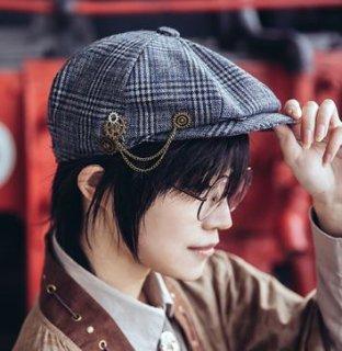 スチームパンク キャスケット 帽子 グレンチェック グレー カジュアル ユニセックス 通年 ロリータファッション loli2201