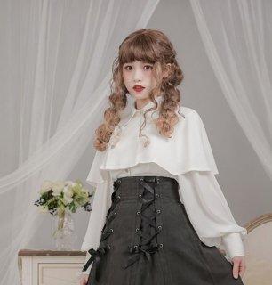 ロリータ ブラウス Dolly Delly ストライプ 春物 ホワイト ブラック パフ袖 マント風 上品 クラシカル フェミニン かわいい 長袖 ロリータファッション loli2249