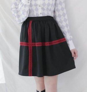 ロリータ スカート Dolly Delly ブラック レース バイカラー 春夏 ショート丈 カジュアル ひざ上丈 台形スカート ウエストゴム ロリータファッション loli2252