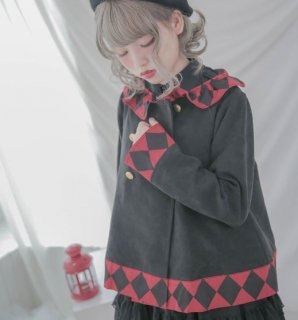 ロリータ ジャケット Dolly Delly ライトアウター 春物 ダイヤ 幾何学 バイカラー ブラック フリル かわいい カジュアル 上品 おでかけ ロリータファッション loli2254