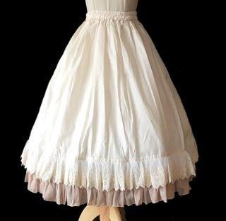 ロリータ ペチコート インナー スカート ホワイト フリーサイズ ウエストゴム ロング フリル フレア 着回し 便利 通年 ふんわり かわいい ボリューム 甘ロリ  loli2390