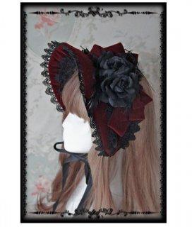 ロリータ ボンネット2色 ワイン ネイビー クラシカル 上品 フェミニン フリーサイズ 小物 ファッション雑貨 帽子 通年 レース ゴスロリ ロリータふぁっしょん loli2396