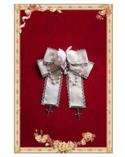 ロリータ リボンブローチ 小物 ファッション雑貨 ホワイト ビジュー チェーン 通年 かわいい 甘ロリ おしゃれ お呼ばれ パーティ ドレス 人気 トレンド ゴスロリ ロリータファッ loli2410