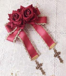 ロリータ ローズブローチ3色 クロス 十字架 クラシカル かわいい ゴージャス エレガント 上品 華やか ファッション雑貨 小物 人気 トレンド 通年 ゴスロリ ロリータファッション loli2430