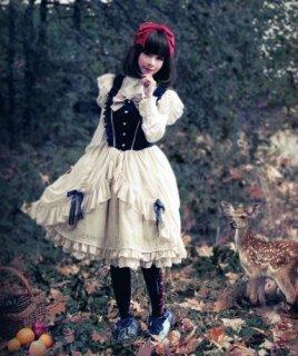 ロリータ 白雪姫 ジャンスカ プリンセス ベルベット フリル フレア かわいい キュート お姫様 ドレス リボン クラシカル 人気 トレンド ゴスロリ ロリー loli2493