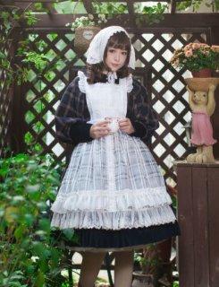 ロリータ メイドさん エプロン ロング チェック ホワイト 甘ロリ フリル かわいい 通年 春夏 ふんわり フェミニン メイド リボン ファッション雑貨 小物 ゴスロリ ロリー loli2528