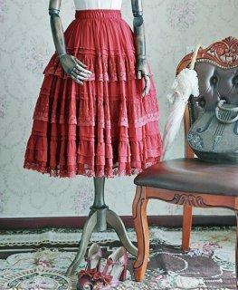 ロリータ インナースカート パニエ レッド ロング ウエストゴム ミディアム ひざ下丈 レース ふんわり フレア フリル ゆったり かわいい フリーサイズ 着回し 万能 通年 ドレス loli2536