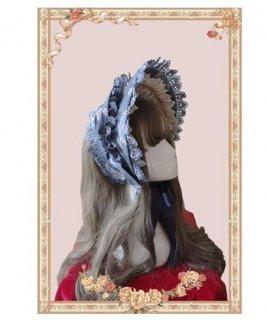 ロリータ 白雪姫 ボンネット2色 ブルー レッド レース ガーリー クラシカル クラロリ ファッション雑貨 帽子 小物 花柄 プリント フラワー おでかけ お呼ばれ パーティ ゴス loli2556