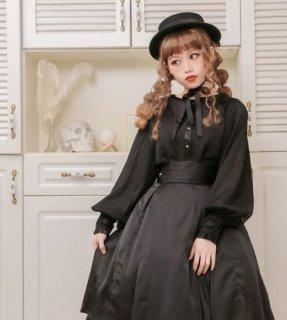 ロリータ DollyDelly ブラウス 長袖 コウモリ襟 ブラック ワンサイズ パフスリーブ ゴシック ユニーク おしゃれ ふんわり チュール ボタン ボリューム袖 春物 おでかけ loli2593