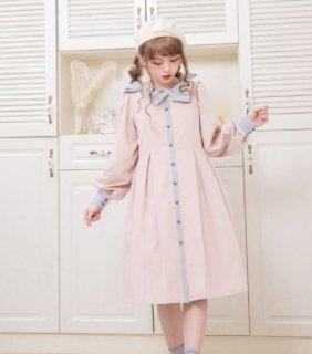 ロリータ DollyDelly パステルカラー ワンピース リボン ピンク イエロー ボタン ミディアム カジュアル 上品 ワンサイズ 長袖 パフスリーブ 春物 人気 かわいい loli2595