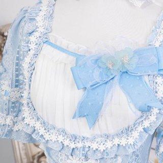 ロリータ シフォン リボン ブローチ2色 ブルー パープル ふんわり かわいい 甘ロリ 姫ロリ アクセサリ 小物 ファッション雑貨 パーティ お呼ばれ 茶話会 フェミニン 華やか お花 フラワー