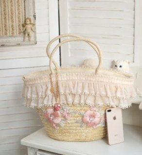 ロリータ  SweetDreamer フラワー 刺繍 かごバッグ Lolita ナチュラル バスケット フラワー 刺しゅう お花 花柄 レース フリンジ タッセル トートバッグ かわいい 春夏