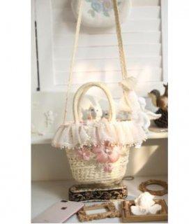 ロリータ SweetDreamer 小さめ 刺繍 かごバッグ Lolita ナチュラル バスケット フラワー お花 花柄 レース フリンジ タッセル 2way ショルダーバッグ トートバッグ