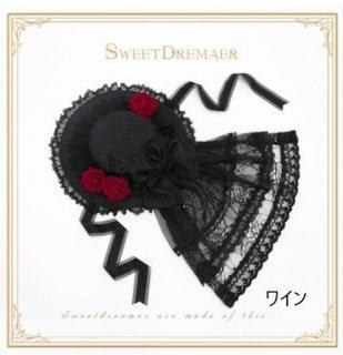 ロリータ Sweet Dreamer 貴婦人 ベール 帽子 2色 ヘッドドレス ブラック ワイン フラワー ゴシック ベール レース 薔薇 お花 ローズ バラ モチーフ ファッション雑貨