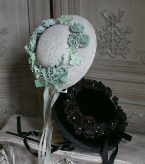 ロリータ  Sweet Dreamer クラシカル ローズ モチーフ 帽子 2色 ハット グリーン ブラック クラシカル クラロリ 通年 薔薇 バラ ローズ ビジュー リボン エレガント
