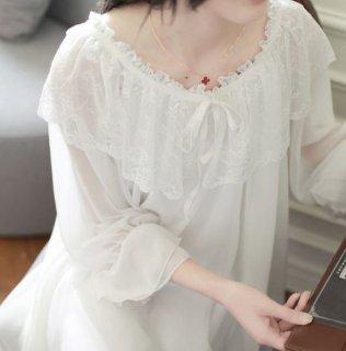 ロリータ シフォン ネグリジェ 春夏 パジャマ ナイティ ルームウェア 部屋着 ホワイト ふんわり かわいい ユメかわいい フェミニン ゆったり らくちん ロング パフスリーブ 長袖 透け感