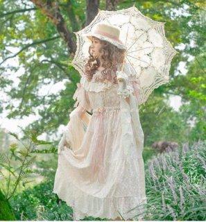 ロリータ Sweet Dreamer フリル 襟 ワンピース 半袖 ロング アイボリー フレア かわいい 春夏 おでかけ お呼ばれ レース フリル リボン ガーリー ロマンティック Lolita