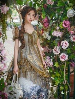ロリータ Neo-Ludwig チャーチル ロング ワンピース 2色 春夏 半袖 ロング パフスリーブ グリーン ゴールド 光沢感 ふんわり フレア Aライン 大きいサイズ サイズ豊富 ドレス