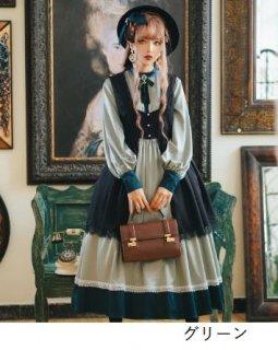 ロリータ ワンピース 3色 通年 春夏 クラシカル グリーン ブルー シャンパン リボン ロング フレア Aライン クラロリ レトロ 光沢感 大きいサイズ サイズ豊富 人気 トレンド Lolita