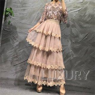ロングスカート 4色 フレアスカート ロング丈 チュール 花柄 レトロ フレア おしゃれ こなれ感 大人 シック 大人っぽい 上品 落ち着いた かわいい 可愛い 大人可愛い きれいめ キレイ目 フェミ