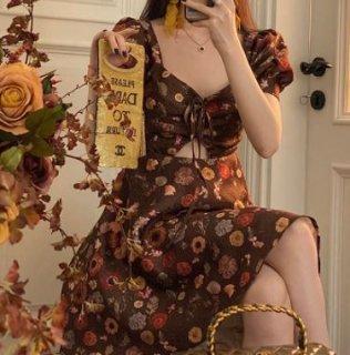 セミロリータ ワンピース 小花柄 花柄 お花 花柄 お花 パステルカラー ジェラートカラー マカロンカラー ギャザー ひだ シャーリング ミニ丈 ショート丈 膝上 半袖 パフスリーブ ちょうちん袖 シ