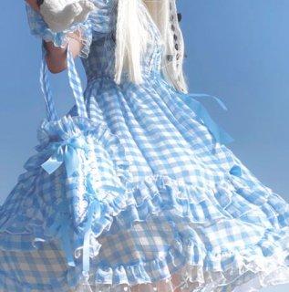 ロリータファッション チェック柄 トートバッグ 甘ロリ 姫ロリ カジュアルロリータ バッグ 鞄 カバン 4色 チェック柄 ハート ハート柄 プリント フリル お嬢様 お姫様 メイド