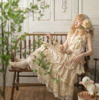 Sweet Dreamer ロリータファッション 小花柄 フロントボタン クラシカル ロング ジャンパースカート 姫ロリ 3色 花柄 お花 花柄 お花 パステルカラー ジェラートカラー