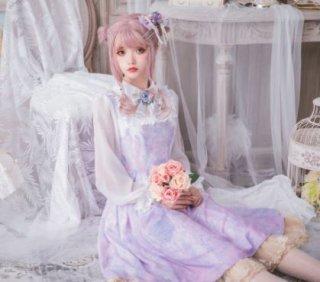 ロリータワンピース ロリータドレス ロリータファッション ウエスト リボン ジャンパースカート 甘ロリ 2色 小花柄 花柄 お花 花柄 お花 パステルカラー ジェラートカラー