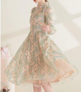 セミロリータ ワンピース ドレス レース リーフ 花柄 フラワー 刺しゅう お花 長袖 ハイネック ビジュー ボタン フリル かわいい 大きいサイズ エレガント 上品 クラシカル 華やか パーティ 発